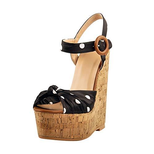 LISHAN Platform Wedge Sandals for Women Sexy Ankle Strap Cork Wedges Bow Peep Toe Polka Dot Platform Wood High Wedges Size 8