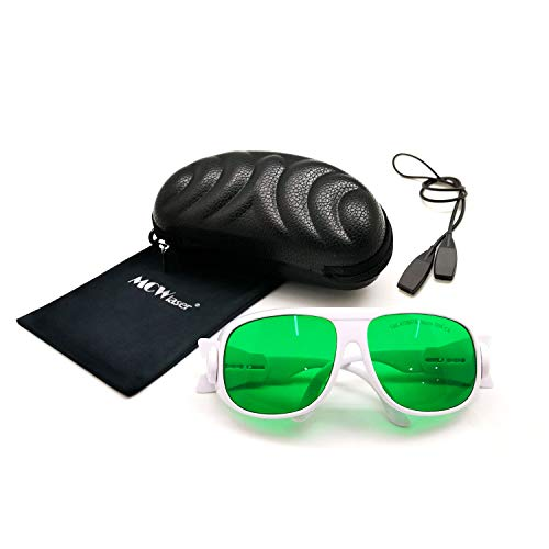 MCWlaser Gafas Protectoras de Seguridad láser Gafas 190-470 y 610-760 NM Típico para 355nm 405nm 447nm 450nm 406nm 460nm 635nm 650nm 655nm 671nm 694nm 750nm 755nm Tipo de absorción EP-13 Estilo 1