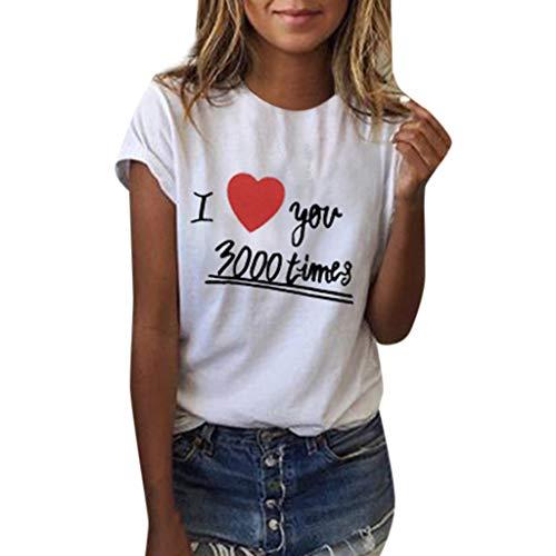 Mode Shirt Damen Herz Druck I Love You 3000 Tees T-Shirt Kurzarm Einfache Top Lässige Bluse Party Tunika Weiß L