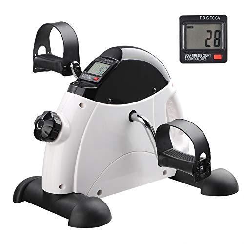 Under Desk Bike Pedal Exerciser - Portable Mini Desk Cycle for Arm/Leg Exercise Peddling Machine, Low Impact, Adjustable Fitness Rehab Equipment for Seniors, Elderly (White)