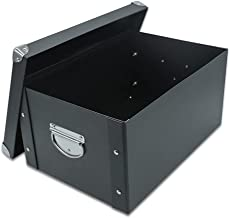 Guozi Decorative Storage Box with Lid - Collapsible and Stackable - Metal Reinforced Corners (Black, 352517.5cm)