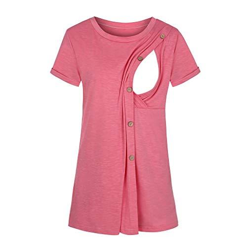 Stillshirt Stillpullover Damen Stillpyjama Umstandspyjama Stillschlafanzug Zweiteilige Nachtwäsche Hausanzug Pyjamas Langarm Shirt & Lange Hose mit Stillfunktion Homewear S-XXL