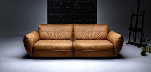 KAWOLA Sofa Davito 3-zits Megasofa Leather Pallino Cognac 240x108x88cm (B/D/H)