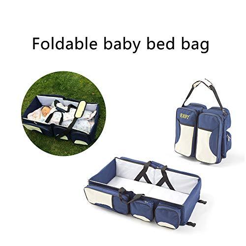 3 in 1 Wickeltaschen für Babys, Multifunktional tragbar Baby-Reisebett Krippe Wickeltasche Faltbar Tragetasche für 0-12 Monate, Dunkelblau - 7