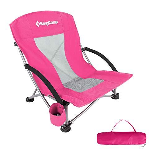 KingCamp Strand Liege Stuhl Camping Klapp Falt Sessel Niedrig Garten Stahl 136kg Rose Red