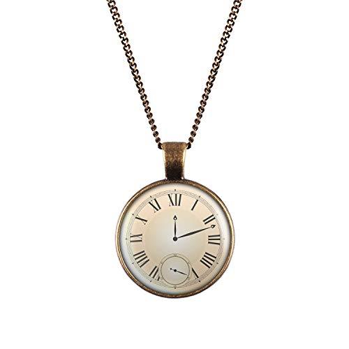 Mylery Halskette mit Motiv Taschen-Uhr Ziffernblatt Fake Unecht Bronze 28mm