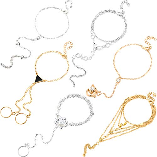 6 Piezas Pulsera y anillo de esclavos Pulsera de arnés de mano Pulsera con diamantes de imitación con brillo Pulsera de eslabones de eslabones de cadena de esclavos para regalos de mujeres y niñas