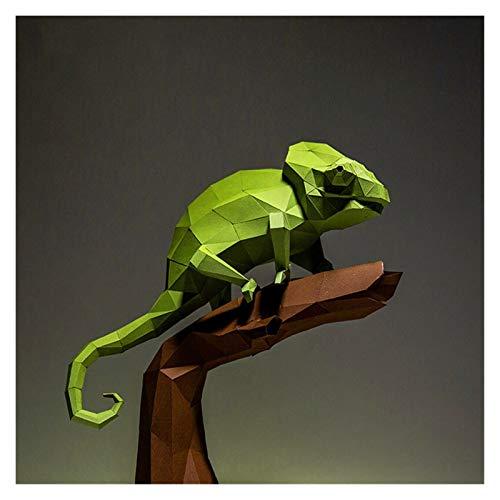 Bfrdollf Modelo 3D de Papel Hecho a Mano de Dibujos Animados del camaleón Origami Animal Bricolaje Creativo Craft Puzzles Juguete Educativo de los niños Escritorio Decoración (Color : Set)