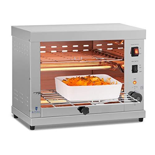 Royal Catering Salamander Grill Überbackgerät (230 V, 3250 W, 50–300 °C, 2 Ebenen, Edelstahl, Auffangbehälter, Timer, Grillrost)