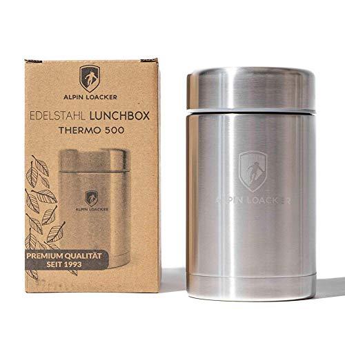 Alpin Loacker - Thermobehälter Lunchbox 500ml   Edelstahl Isolierbehälter Gefäß für warme Speißen