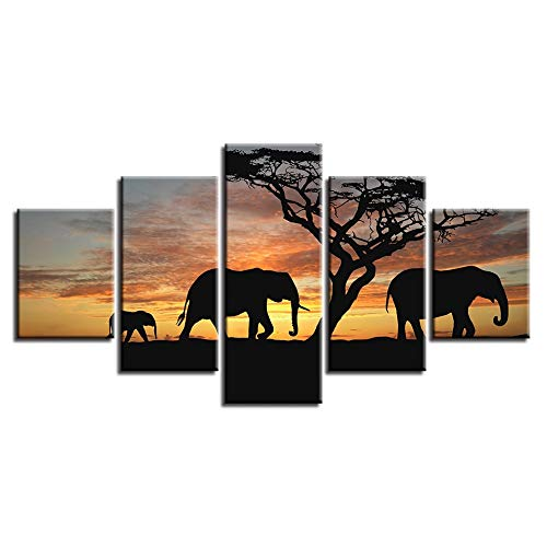 SJVR 5 Canvas Paintings Prints on Canvas Elephant Silhouettes in The Dusk Home Decorative Canvas Wall Printing Poster 5pcs Landscape Animal Painting