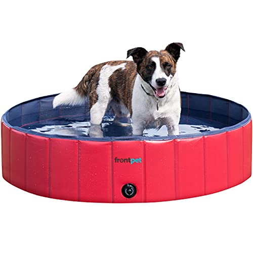 FrontPet Foldable Swimming Pool for Dogs - Large Collapsible Pet Pool, Bathing Tub and Kiddie Pool,...