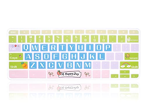 MMDW Silicone Keyboard Cover for Acer Chromebook Spin 11 311 CP311 511 512/Chromebook 11 CB3-131 CB3-132 CP311 C738T CB5-132T/Chromebook Spin 713 CP713 R13 CB5-312T/Chromebook 14 15.6 inch,Happy Day