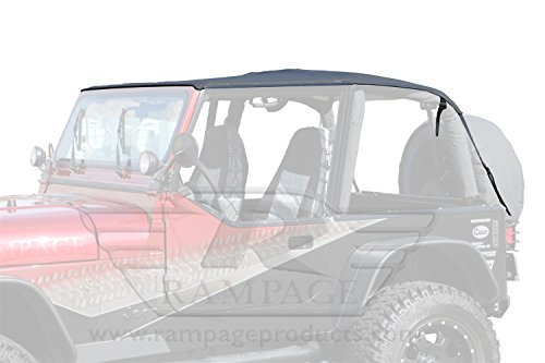 Rampage Products 109435 Frameless Trail Top for 1992-1995 Jeep Wrangler YJ, Black Diamond w/Tinted Windows