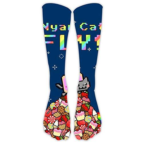 BEKAI Long Socks N-y-a-n Cat Ready Fly Printed Casual High Stocking for Sport Dress Gift