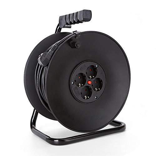 Aigostar 177461 - Cable de alimentación de bobina enrollable de 50 metros y 4...