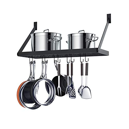 NA KLXHOME Pot Rack Square Grid Wall Mounted Kitchen Pot and Pan Organizer Shelf with 10 Hooks 24 by 10-inch Black G301B1