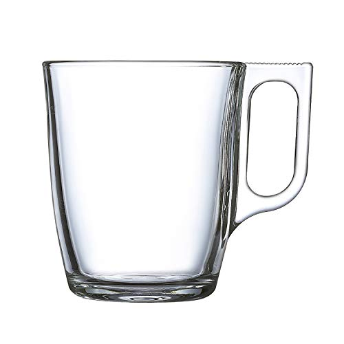 Luminarc Nuevo Set 6 tazas desayuno mugs café de vidrio para microondas 25cl, Negro
