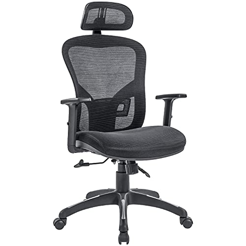 RYDESIGN Ergonomic Office Chair Mesh Computer Chairs, High Back Desk Chair with Lumbar Support, Adjustable Armrests & Headrest, Conference Manager Executive Office Chair