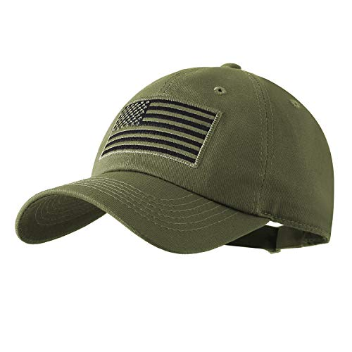 IIN USA American Flag Baseball Cap for Men Women Low Profile Army Military Fitted Dad Hat (Olive)