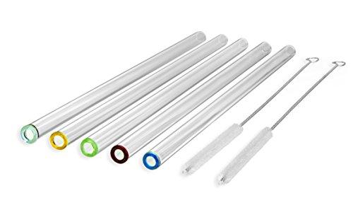 Pajitas de Cristal con Puntas de Colores, Rectos y Transparentes - Hechos a Mano de 23 cm x 10 mm - Paquete de 5 con 2 cepillos de limpieza - Cristal de Primera calidad - Sanos, Reutilizables