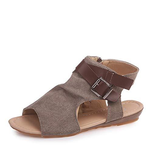 UMore Damen Riemchen Flache Sandalen Böhmen Strandsandalen Elegante Sommerschuhe Freizeit Vintage Zehe Gladiator Sandalen Römische Schuhe Komfortable