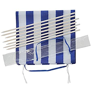 Idena Protection Contre Le Vent : Environ 800 x 80 cm-Bleu et Blanc Transport et Sangles de Fixation-pour la Plage, Le Camping et Le Jardin Mixte-Adulte
