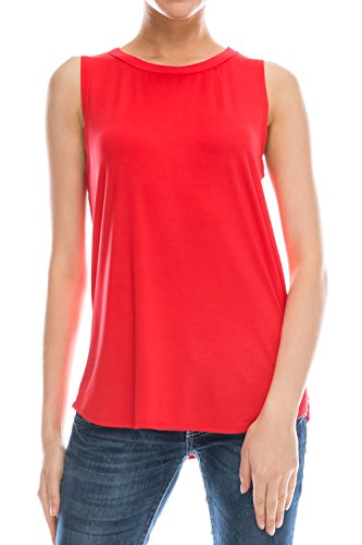 Flowy Relaxed Cool Loose Fit Tank Tops: Workout Rayon Knit Jersey Regular and Plus Size Red XL