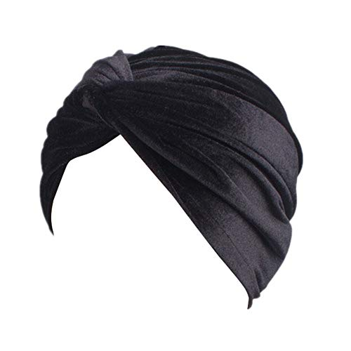 Fxhixiy Women's Stretch Velvet Twist Pleasted Hair Wrap Turban Hat Cancer Chemo Beanie Cap Headwear, Black, Free Size