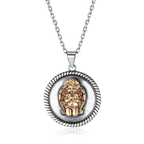 Nofade Silver Damen Halskette mit Engel Symbol Talisman Schutzengel in 925 Sterling Silber, Anhänger Mini Engel rund, Gott Schütze Dich Kette, Klein Kinderkette mit Anhänger Schutzengel