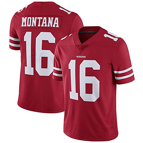 LAVATA Herren Kurzarm T-Shirt Fußballuniform San Francisco 49ers 16# Joe Montana Rugby Uniform Trikots T-Shirts