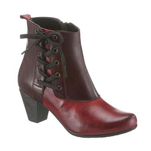 GEMINI Damen Leder Stiefeletten Ankle Boot Lederschuhe Stiefel Bordeaux Weinrot Schuhgröße EUR 37