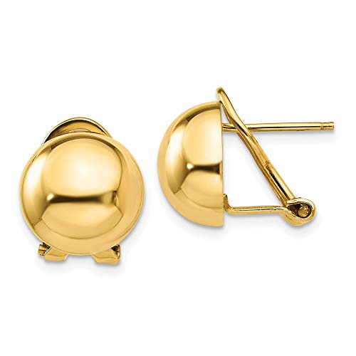 14k Yellow Gold Omega Clip 12mm Half Ball Earrings Button Fine Jewelry For Women Gifts For Her