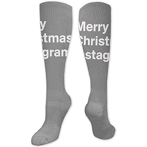 NotApplicable Kniehohe Socken Frohe Weihnachten Instagram! Boot Lange Socken Damen Winter Thermo Socken Crew Socken 50Cm