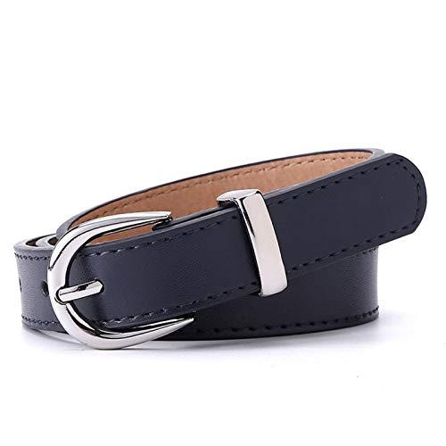 Loisirs de mode Mesdames de luxe Brand ceinture Cuir Cuir Haute Qualité Courroie Fashion Alliage Boucle Girl Jeans Robelle Ceinture Accessoires de robe ( Belt Length : 110cm , Color : Dark Blue )
