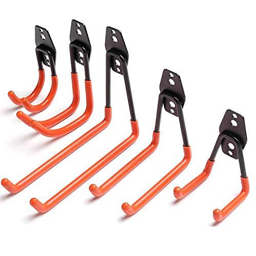 Gxhong Ganchos – Ganchos universales de pared para cargas pesadas, para almacenamiento de garaje, ganchos dobles, soporte de herramientas multitamaño (5 unidades)