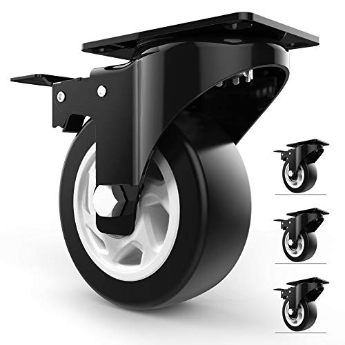 4' Swivel Caster Wheels with Safety Dual Locking and Polyurethane Foam No Noise Wheels, Heavy Duty - 300 Lbs Per Caster (Pack of 4)