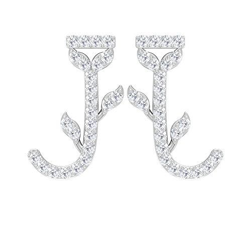 Antique Floral Earrings, J Initial Earrings, Letter Alphabet Earring, HI-SI Diamond Stud Earrings, Customize Girls Earrings, Anniversary Earrings, 14K White Gold, Pair