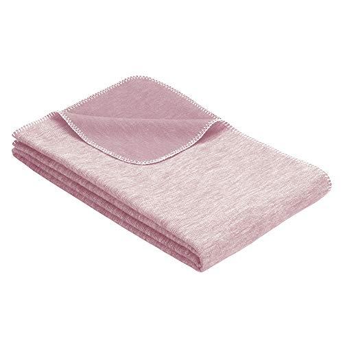 Ibena Lausanne Kinderdecke 70x100 cm - Babydecke Baumwolle rosa, Baumwolldecke für Babys angenehm leicht und kuschelig