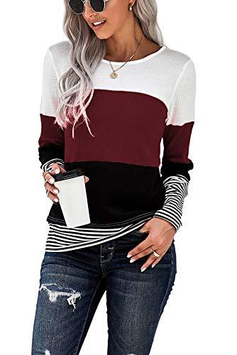 SMENG Womens Clothes Aesthetic Shirts Black and White Striped Shirt Women Long Sleeve Fall Blue and White Striped Shirts Wine red M