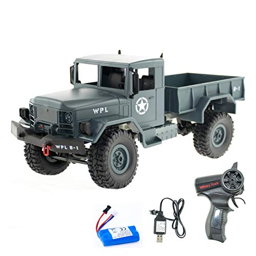 efaso 1:16 RC Militärtransporter B-14 LKW Crawler blau - 2,4 GHz mit Allradantrieb, Aluchassis, Gummireifen und LEDs - Outdoor geeignet und umbaubar