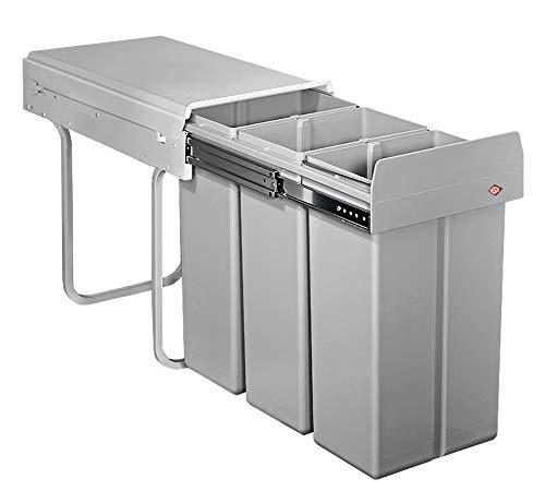 WESCO Bio Trio 30DT 3x10 Liter alugrau Einbau Abfallsammler Mülleimer Vollauszug
