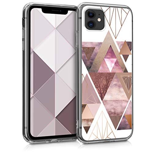kwmobile Hülle kompatibel mit Apple iPhone 11 - Handyhülle - Handy Hülle Glory Dreieck Muster Rosa Rosegold Weiß