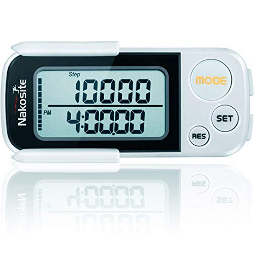 NAKOSITE PED2433 Best Walking 3D Pedometer with Clip and Strap, Fitness...