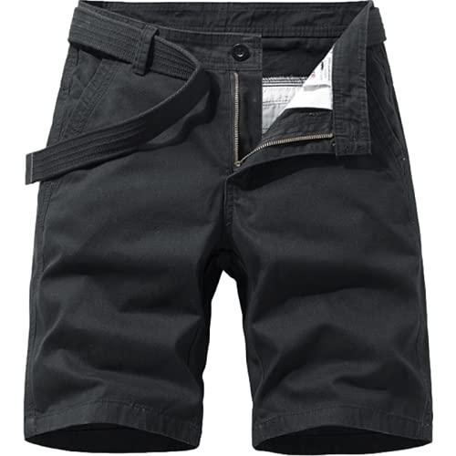 Katenyl Pantalones Cortos Rectos de Cintura Media para Hombre Color Puro Simplicidad Lavado Casual Todo-fósforo Trabajo de Oficina Moda Pantalones Cortos Regulares 28