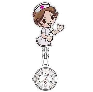 AIUIN Enfermera Broche de Reloj, Moda para Mujer Enfermera con Clip Fob Broche de Solapa Reloj de Bolsillo Colgante, Resplandor en la Oscuridad (A)