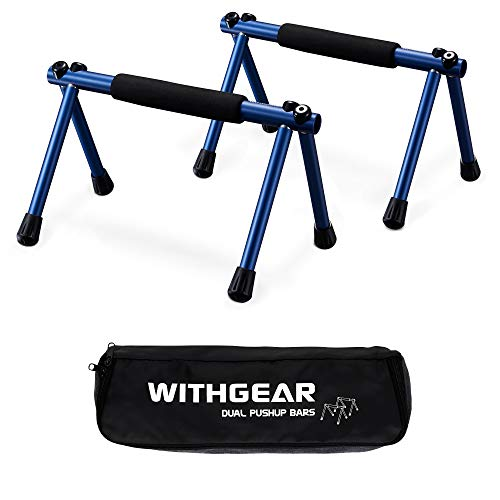 Withgear Folding Push Up Bar - Portable and Lightweight Sturdy Duralumin Metal Push Up Bars and Indoor and Outdoor Parallette Bar for Men and Women