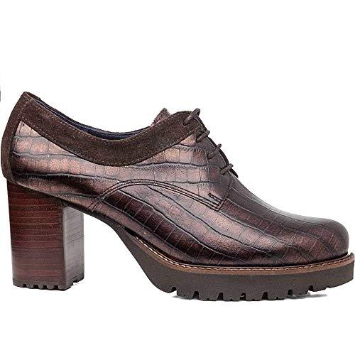 CALLAGHAN - Zapatos Abotinado de tacón Ancho, de Piel Coco, con Cordones,...
