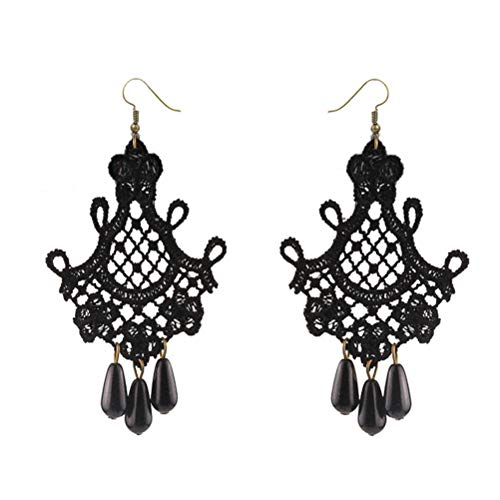 ADIUMA 1 par de Pendientes de Encaje góticos Vintage Pendientes Colgantes de Encaje Negro de Halloween Pendientes Pendientes