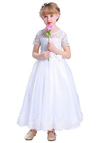 Happy Rose Lace Flower Girls Dresses First Communion Dress White Size 6